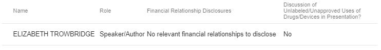 COI disclosure image. Dr. Elizabeth Trowbridge has no relevant financial relationships to disclose.