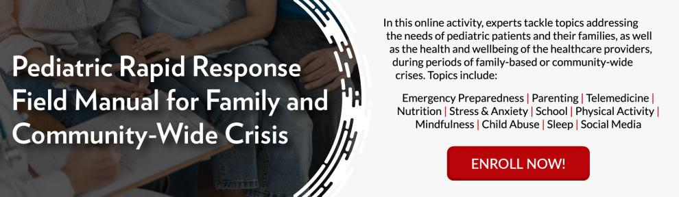 Promotional Banner for the Pediatric Rapid Response Field Manual for Family and Community-Wide Crises Activity